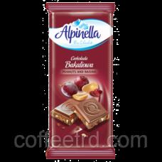 "Шоколад молочный Alpinella ""Bakaliowа"" (арахис и изюм), 90 г"
